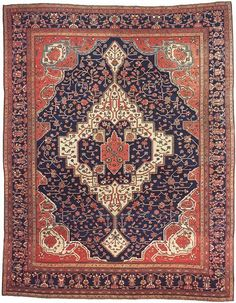 """Fereghan 9' x 11'4"""" Circa 1890 North Persia Ref no. 412 {rugs, carpets, traditional, home collection, decor, warp & weft}"""