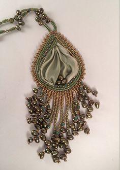 OOAK bead embroidery shibori ribbon by SarahDekkerDesigns on Etsy