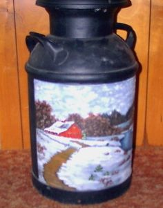 Collectible Painted Vintage Milk Can Winter ~ Just click on picture 2x to be taken to the product for direct purchase!