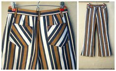 SOLD 60s 70s striped beatnik jeans / high waisted bell bottoms, Alfred Paquette, California, by dahlilafound