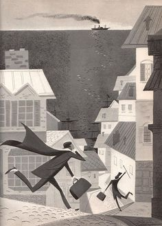 """Beautiful illustrations by Peter P. Plasencia from 1964 for the book """"Jules Verne: The Man Who Invented the Future"""" by Franz Born."""