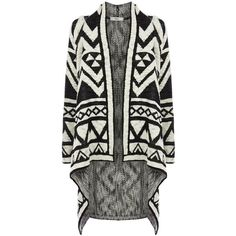 Oasis Aztec Cardigan (165 SEK) ❤ liked on Polyvore featuring tops, cardigans, sweaters, black, jackets, clearance, aztec print tops, cardigan top, aztec cardigans and waterfall cardigan