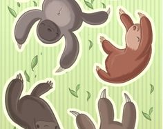 Falling Animals Bear Sticker Set by Labillustration on Etsy