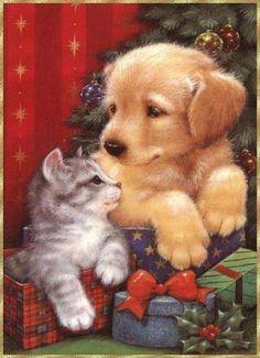 Christmas Pets -- no artist listed Christmas Scenes, Christmas Past, Christmas Animals, Christmas Pictures, Christmas Greetings, Christmas Crafts, Christmas Kitten, Christmas Puppy, Baby Animals