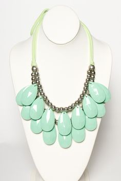 mint ruffled statement necklace.