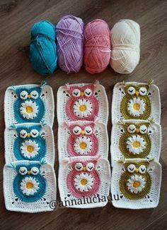 crochet daisy crochet owl crochet owl square  flower owl