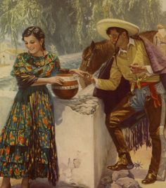 Vintage Art Deco Romantic Mexican Pin-Up Print Lithograph Cowboy & Señorita Mexican Artwork, Mexican Paintings, Mexican Folk Art, Mexican Pictures, Jesus Helguera, Most Beautiful Paintings, Beautiful Pictures, Latino Art, Mexico Culture