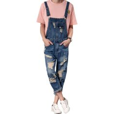 cd16fd1fdf 2018 New Mens Bib Overalls Fashion Ankle Length Denim Overalls Men Ripped Jeans  Male Denim Jumpsuit Tooling trousers SIZE S-6XL