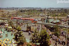 Disneyland-Alweg Mark I Monorail Red passes over the queue for the brand Matterhorn bobsled ride.