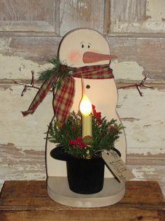 Primitive Wood Snowman with Frosty Hat Light Arrangement