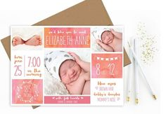 Pin for Later: 35 Beautiful Birth Announcement Cards That Are Going to Make You Want Another Baby  Watercolor Squares Card ($11)