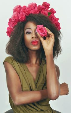 The most amazing accessory for a hairstyle - a floral crown! Love the rich pink... #topshoppromqueen