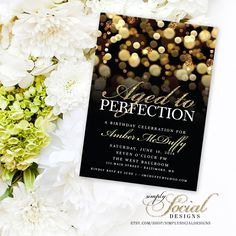 Aged to Perfection Birthday Party Invitation with Gold Glitter Bokeh Classy Glam PRINTABLE by SimplySocialDesigns on Etsy https://www.etsy.com/listing/250507725/aged-to-perfection-birthday-party