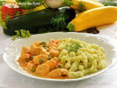 Kuracie prsia na smotane so zeleninou a cuketovými haluškami s kôprom