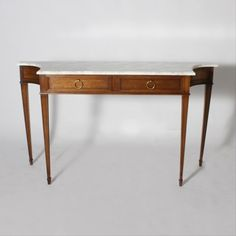 Jan Showers | Shop | CASE GOODS | CONSOLES COMMODES & DESKS | French Jansen wood and calcotta marble console, c. 1940