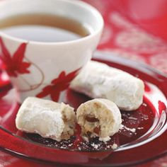 Tender Pecan Logs Recipe -Folks always expect to find these tender nutty logs on the cookie gift trays I give at Christmas. They're not overly sweet and go great with a steaming cup of coffee or tea. Holiday Cookie Recipes, Cookie Desserts, Cookie Bars, Cookie Ideas, Christmas Desserts, Christmas Treats, Christmas Cookies, Holiday Treats, Easter Desserts