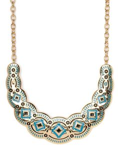 $28 The tribal beat goes on. This splashy necklace works the tribal vibe in a super-luxe way, with a vibrant turquoise and onyx Southwest pattern set into glistening gold.