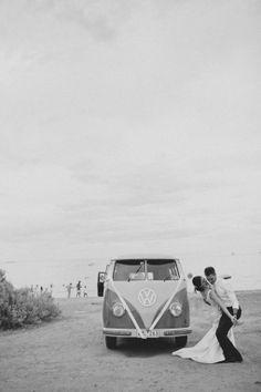 VW beach wedding getaway.