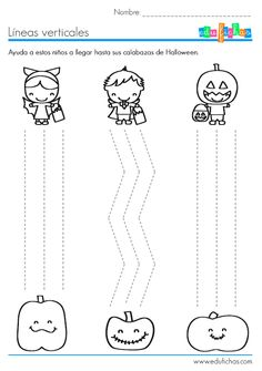 Imprime esta ficha con ejercicio de grafomotricidad de Halloween. La ficha además es coloreable, con líneas para repasar y dibujos de disfraces de Halloween