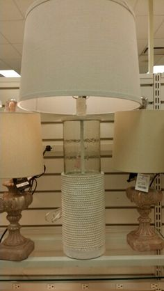 Cylinder glass lamp base + painted rope bottom half