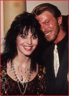 Joan Jett and David Bowie. RIP in peace David. David Bowie, Cherie Currie, The Thin White Duke, Joan Jett, Music Icon, Musical, Music Is Life, Rock Music, Music Artists