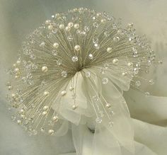 Crystal, pearl and feather bouquet,