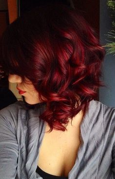 ✨Renee Red Hair For Short Hair, Colored Short Hair, Deep Red Hair Color, Dark Red Hair, Crimson Red Hair, Brown Hair, Hair Colour, Red Ombre, Burgandy Ombre Hair