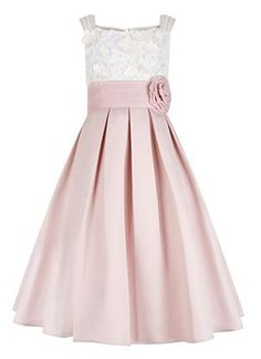 She'll be the belle of the ball in The Enola dress for girls, crafted with a fitted cream lace bodice with delicate flower appliqu s, and a full, pleated pale pink skirt that's ideal for dance floor twirls. This pretty piece is cinched with a wide waistba Trendy Dresses, Girls Dresses, Prom Dresses, Ball Dresses, Pink Flower Girl Dresses, Pink Dress, Flower Girls, Pink Flowers, Dress Lace