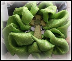 diy deco mesh wreath...this one is for st. patty's day, but i just did one for easter & it turned out cute! bought supplies from hobby lobby & michaels.
