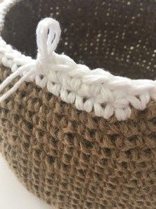 Lovely crochet baskets made with Jute string and 100% cotton that you can put your stuff into, stops your messy look!