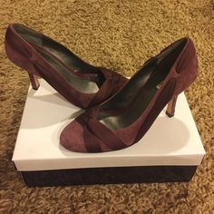 Alfani burgundy ribbon suede pumps Gorgeous burgundy ribbon suede pumps. Excellent condition. Worn 1x for a few hours at a wedding. Have original box, bought at Macy's a few years back!!! Alfani Shoes Heels