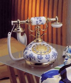 French Porcelain Classic Replica #Telephone - White With Blue Flowers #phone