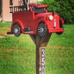 A excellent #DIY project for the #firefighter or a #fire station that wants a unique #mailbox. #fireprotection. Check out that cool T-Shirt here: https://www.sunfrog.com/I-love-my-firefighter-Black-Ladies.html?53507