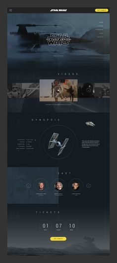 Concept design for a one-page website to launch the Star Wars: The Force Awakens movie. Designed in 4 hours.