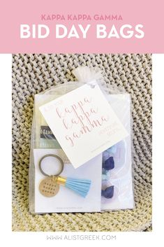 Spoil your new members this recruitment with the Pref Present bundle! Gift bag includes a sorority tassel keychain, hair tie set, and button set. Kappa Kappa Gamma Gifts | Kappa Kappa Gamma Bid Day | Kappa New Member Gifts | KKG Rush Gift Bags | Kappa Kappa Gamma Recruitment | Sorority Bid Day | Sorority Recruitment | Bid Day Bags | Sorority New Member Gift Ideas #BidDayGifts #SororityRecruitment Delta Phi, Kappa Kappa Gamma, Sorority Bid Day, Sorority Recruitment, Bid Day Gifts, Bid Day Themes, Tassel Keychain, Elastic Hair Ties, Tie Set