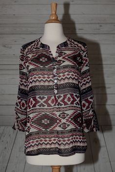 About A Girl L Large Aztec Ethnic Pullover Geo Tunic Chiffon Top Blouse Shirt #AboutAGirl #ButtonDownShirt #Casual