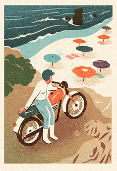 #Illustration by Owen Gatley #摩托車 #海邊
