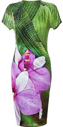 ShopStyle: ROBERTO CAVALLI Leaf/Orchid Cowl-Neck Dress