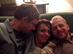 Martin Freeman, Amanda Abbington, and Simon Pegg. If Benedict Cumberbatch was in this picture I wouldn't be able to love it more.