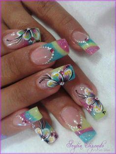 Crazy Nail Designs, Square Nail Designs, Diy Nail Designs, Colorful Nail Designs, Beautiful Nail Designs, Beautiful Nail Art, Gorgeous Nails, Cute Nails, Pretty Nails
