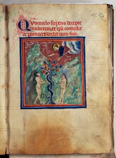 Treatise of the World's Creation - World Digital Library Duccio Di Buoninsegna, Medieval Books, Adam And Eve, Watercolor Drawing, Beast, Miniatures, Scene, Museum, Italia