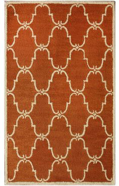 Go for color with this trellis terra rug-- geomtric for interest and starting point for decor/pillows...