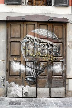 Hot Air Balloon Painted on Double Doors in Spain