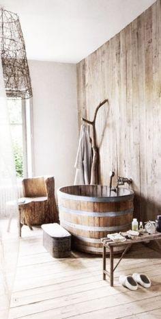 barefootstyling.com bois, décoration, pierre, rustique, salle de bain