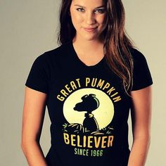 """This epic shirt is back by popular demand!  """"Great Pumpkin Believer"""" halloween t-shirt.   SnorgTees makes super soft, comfy tees and hoodies for men, women and kids.  Discover your favorite shirt today!"""