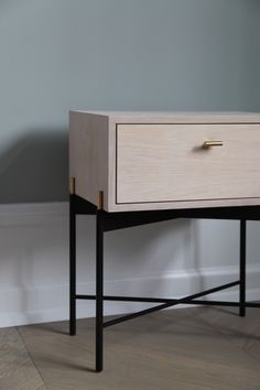 """German designer Theresa Arns has created a set of steel-framed furniture that references classic art deco shapes. She describes the Spring 2017 collection of prototypes as """"simple but sensual"""". It was made by Danish cabinetmakers and blacksmithsand pairs metal frameworks with wood and brass details. Comprising a bench, table and shelving system, the range is"""