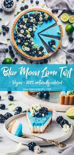 "This vegan no-bake lime tart is inspired by the popular ice cream ""Blue Moon"" but it's naturally colored without any additives or artificial ingredients! Tarte Vegan, Vegan Sweets, Healthy Desserts, Easy Desserts, Dessert Simple, Baking Recipes, Cookie Recipes, Vegan Recipes, Pie Recipes"