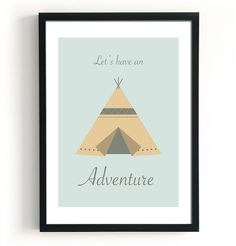 Teepee Art Adventure Quote Art Boys Room Decor Modern by BlacknBoo