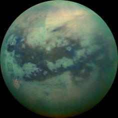 Titan as seen by Cassini's VIMS. This composite image shows an infrared view of Saturn's moon Titan from NASA's Cassini spacecraft, acquired during the mission's ''T-114'' flyby on Nov. 13, 2015.