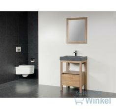 Saniclass Natural Wood Badmeubelset 60cm Grey Wash met wastafel natuursteen Black Stone 1 kraangat inclusief spiegel - SW3186 - Sanitairwinkel.nl